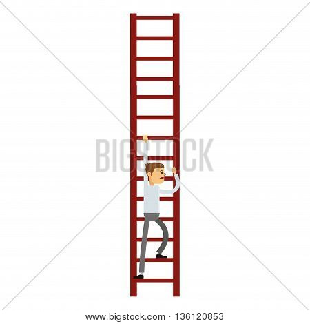 flat design businessman climbing the ladder icon vector illustration