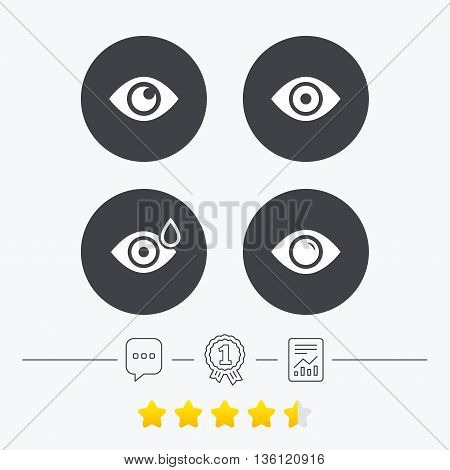 Eye icons. Water drops in the eye symbols. Red eye effect signs. Chat, award medal and report linear icons. Star vote ranking. Vector