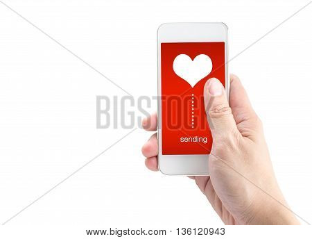 Hand Holding Smartphone With Sending Word And Heart Shape On Screen On White Background, Valentine's
