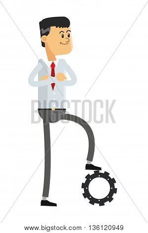 flat design man with gear under his foot icon vector illustration