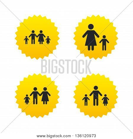 Family with two children icon. Parents and kids symbols. One-parent family signs. Mother and father divorce. Yellow stars labels with flat icons. Vector