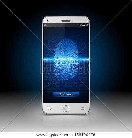 Smartphone with mobile security application scanning, Smartphone with finger scan, vector