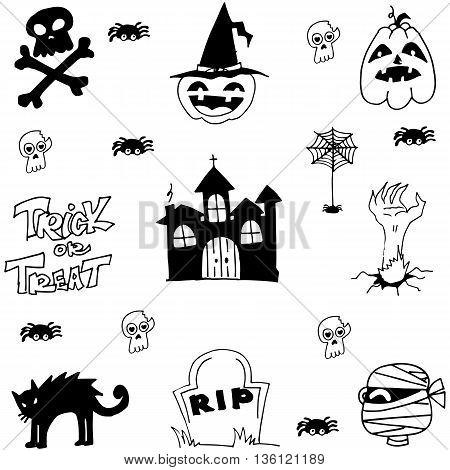 Halloween castle cat zombie doodle vector art illustration