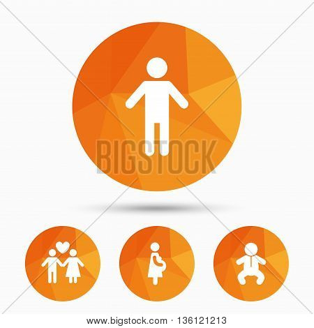Family lifetime icons. Couple love, pregnancy and birth of a child symbols. Human male person sign. Triangular low poly buttons with shadow. Vector