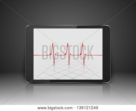 Tablet with heart sign on screen, Heart pulse. Vector