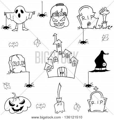 Halloween element castle pumpkins doodle vector art