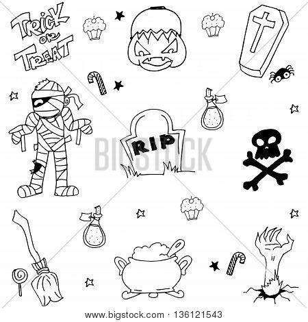 Doodle of Halloween mummy tomb pumpkins zombie illustration
