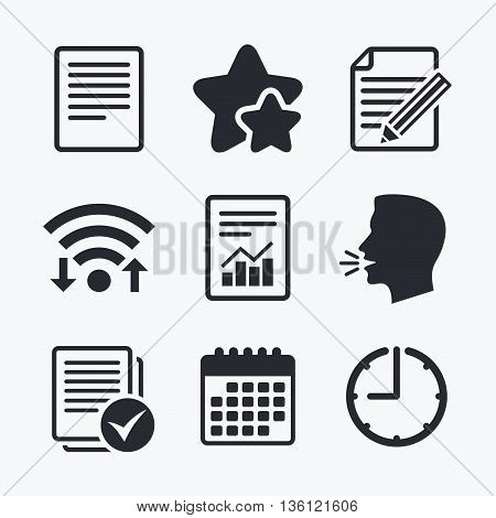 File document icons. Document with chart or graph symbol. Edit content with pencil sign. Select file with checkbox. Wifi internet, favorite stars, calendar and clock. Talking head. Vector