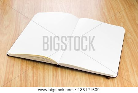 Blank Open Notebook On Wood Table,business Template