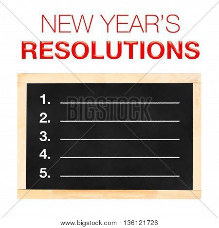 New Year 's Resolutions : Goals List On Blackboard With White Background