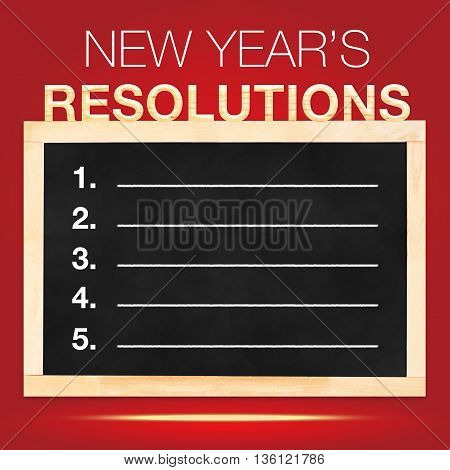 New Year 's Resolutions : Goals List On Blackboard With Red Background