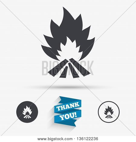 Fire flame sign icon. Heat symbol. Stop fire. Escape from fire. Flat icons. Buttons with icons. Thank you ribbon. Vector