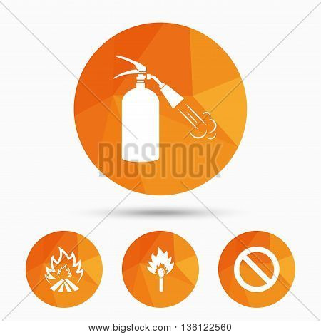 Fire flame icons. Fire extinguisher sign. Prohibition stop symbol. Burning matchstick. Triangular low poly buttons with shadow. Vector