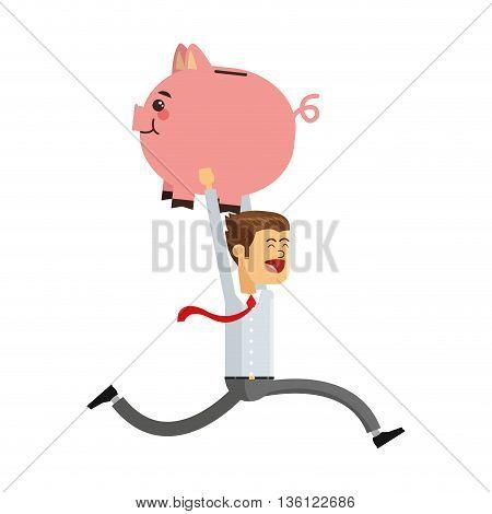 flat design office worker running with piggy bank vector illustration