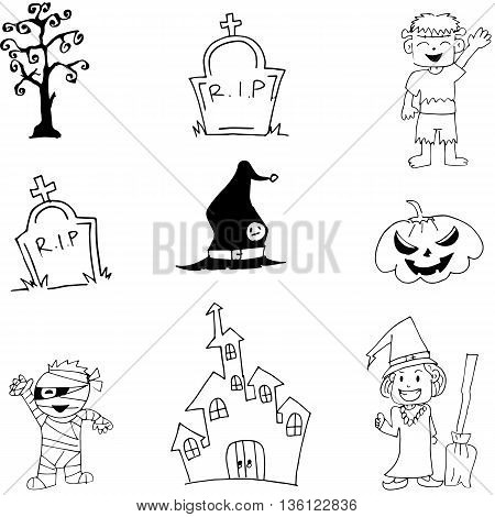 Halloween characters mummy witch zombie doodle vector illustration