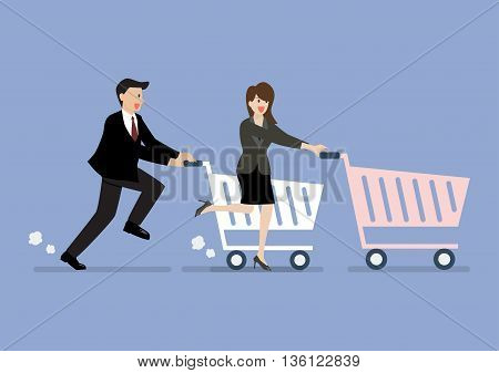 Business man and woman are shopping with a cart. Shopping concept