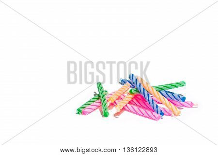 colorful birthday candles isolated on white, with copyspace for your work.