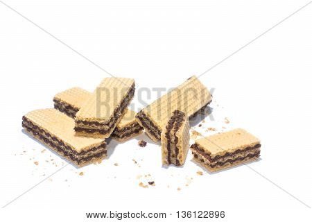 chocolate wafer on a white background. selective focus
