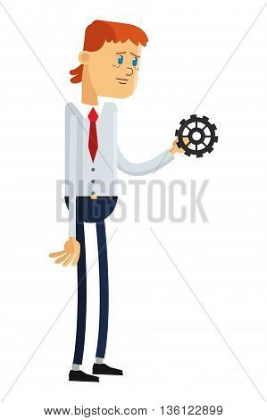 flat design sad man holding gear icon vector illustration