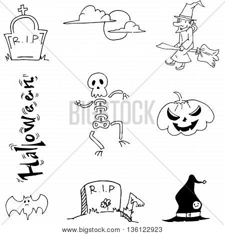 Doodle Halloween skull pumpkins tomb vector illustration