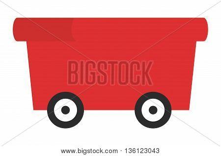 simple flat design red wagon icon vector illustration