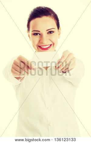 Beautiful business woman holding personal card.