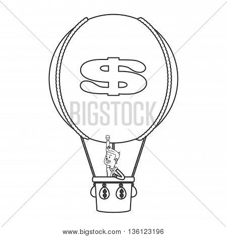 simple black line business man on hot air balloon with money icon vector illustration