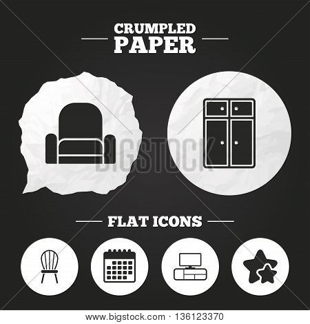 Crumpled paper speech bubble. Furniture icons. Cupboard, chair and TV table signs. Modern armchair symbol. Paper button. Vector
