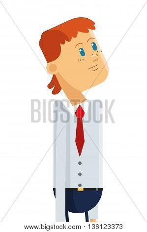 flat design businessman looking up icon vector illustration