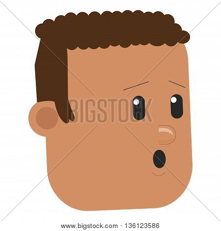 flat design face of worried man icon vector illustration
