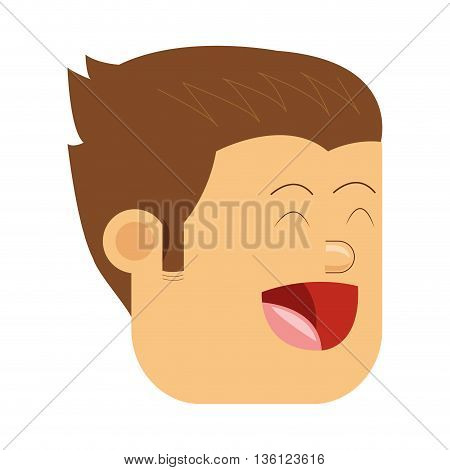 flat design face of happy man icon vector illustration