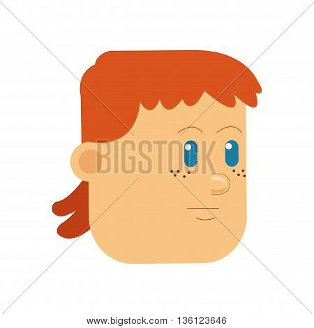 flat design man with blank expression icon vector illustration