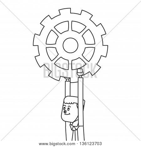 simple blak line man holding gear icon vector illustration
