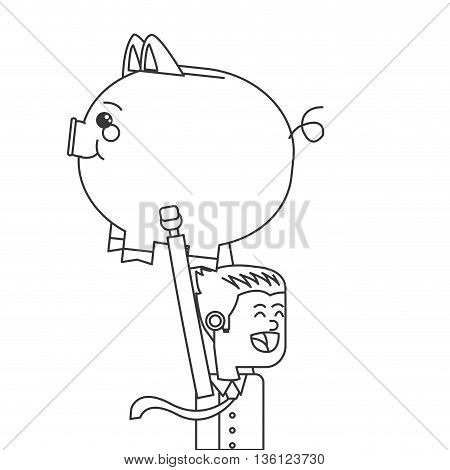 simple black line office worker running with piggy bank vector illustration