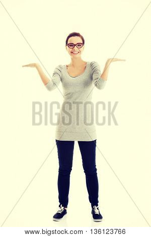 Beautiful casual woman with empty copy space on hands.