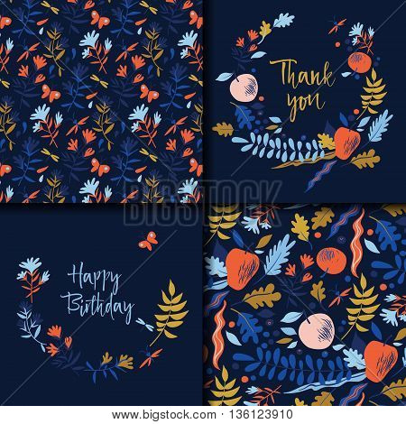 Autumn pattern with leaves, berries, flowers and apples. Wedding or Birthday invitation, thank you card