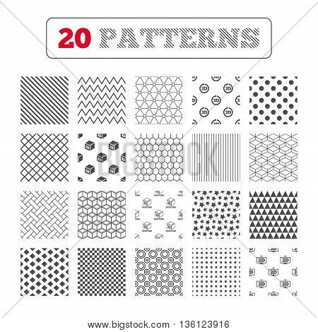 Ornament patterns, diagonal stripes and stars. 3d tv technology icons. Printer, rotation arrow sign symbols. Print cube. Geometric textures. Vector