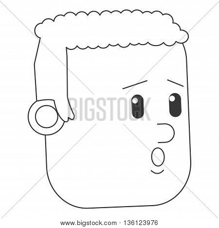 simple black line face of worried man icon vector illustration