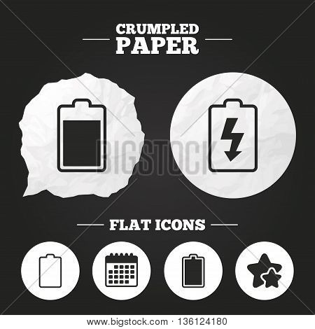 Crumpled paper speech bubble. Battery charging icons. Electricity signs symbols. Charge levels: full, empty. Paper button. Vector