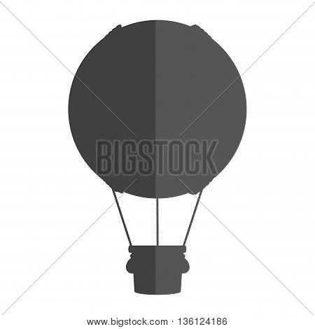 grey simple flat design hot air balloon icon vector illustration