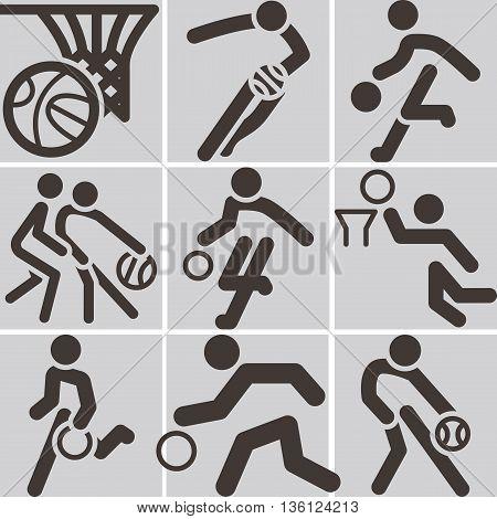 Summer sports icons set - basketball icons set