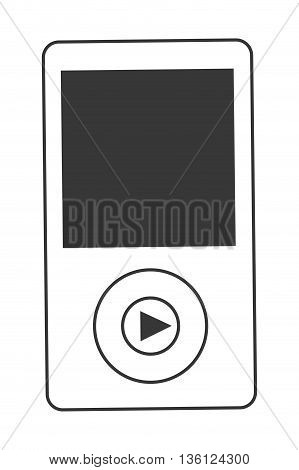 simple black line portable music device vector illustration