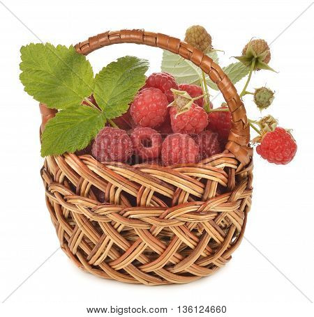 Fresh raspberries in a basket isolated on white background