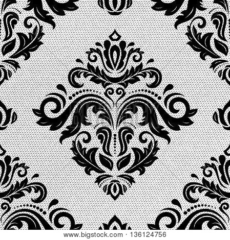 Seamless oriental ornament in the style of baroque. Traditional classic black and white pattern