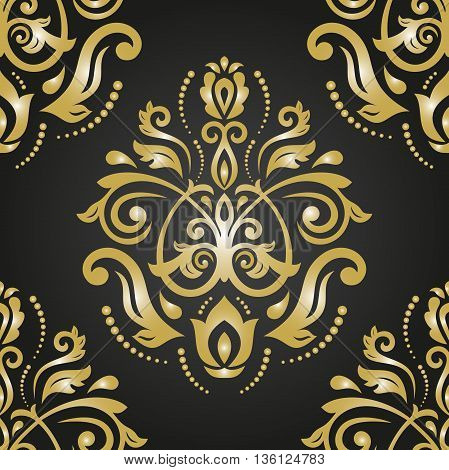 Seamless oriental ornament in the style of baroque. Traditional classic golden pattern