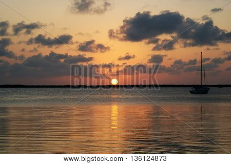 A beautiful sunset in Key Largo, Florida.