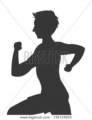 grey silhouette flat design man running icon vector illustration