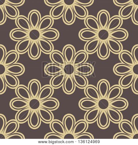 Floral brown and golden ornament. Seamless abstract classic pattern with flowers