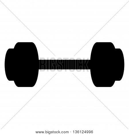 black silhouette simple flat design barbell icon vector illustration