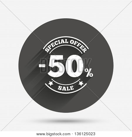 50 percent discount sign icon. Sale symbol. Special offer label. Circle flat button with shadow. Vector